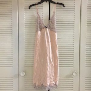 Victoria's Secret night gown slip pink lace L